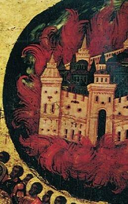 Błogasławione wojsko Niebieskiego Cara - detal Płonące miasto – utożsamiane zKazaniem Źródło: Błogasławione wojsko Niebieskiego Cara - detal, ok. 1550-1560, Tretyakov Gallery, Moscow, domena publiczna.