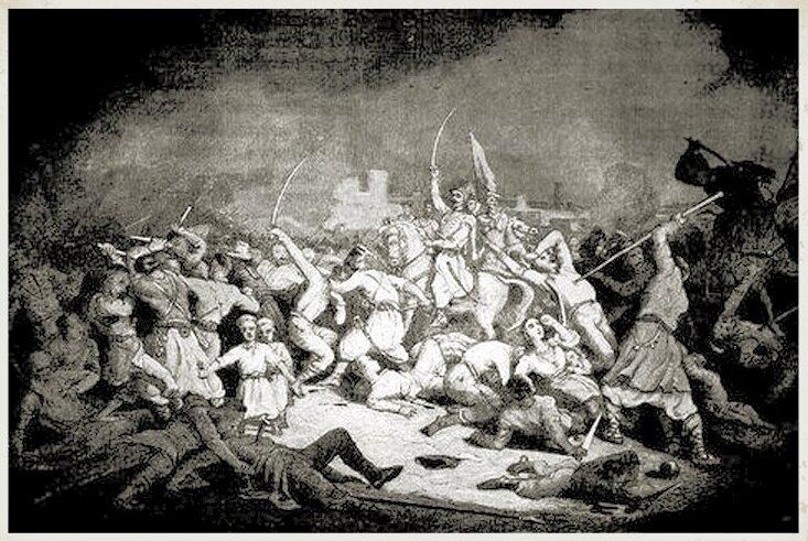 Koliszczyzna Pogrom ludności polskiej podczas buntu kozackiego w1768 roku (koliszczyzny) Źródło: Koliszczyzna, domena publiczna.