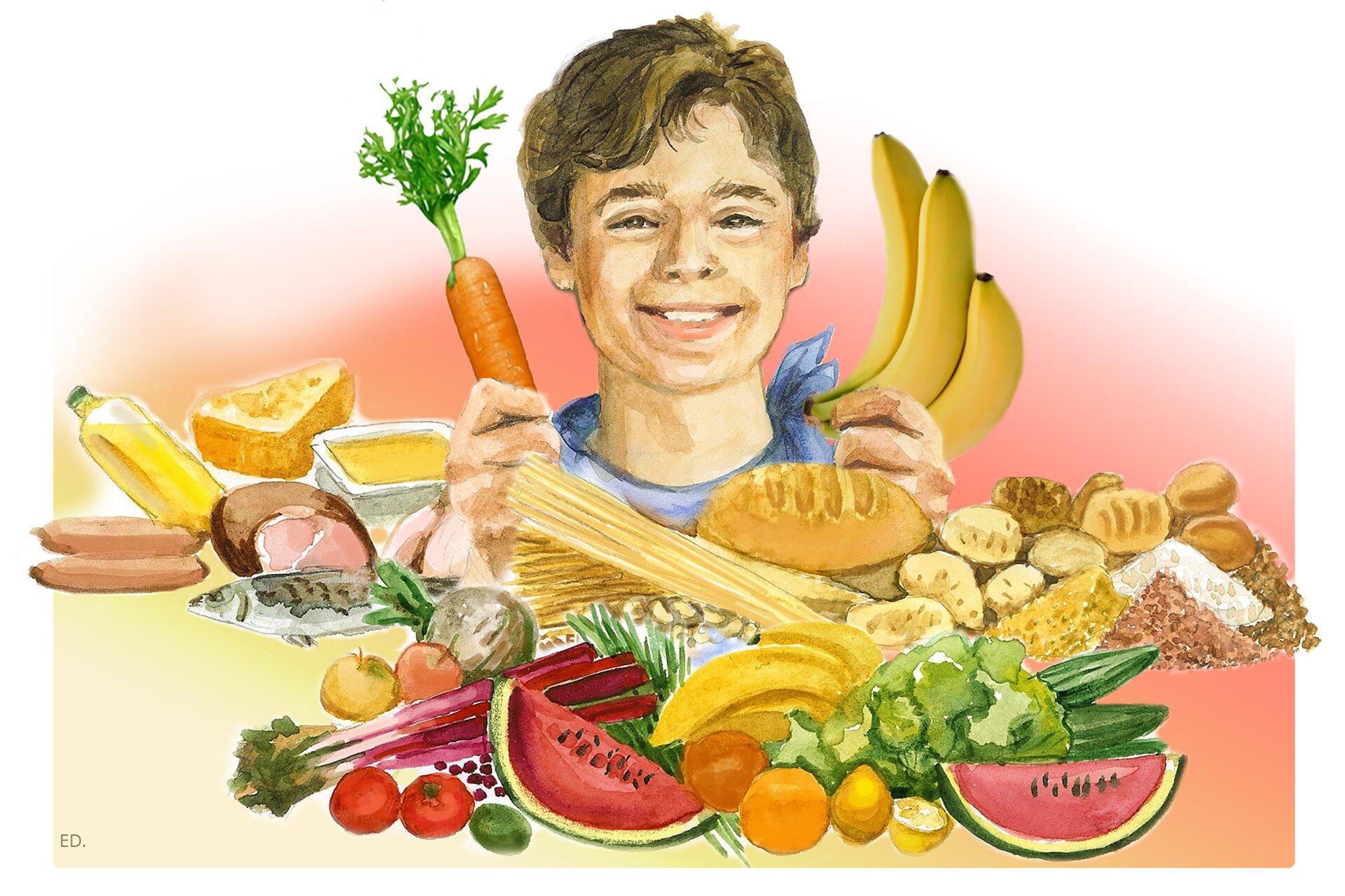 Ilustracja przedstawiająca chłopca prezentującego zdrową żywność
