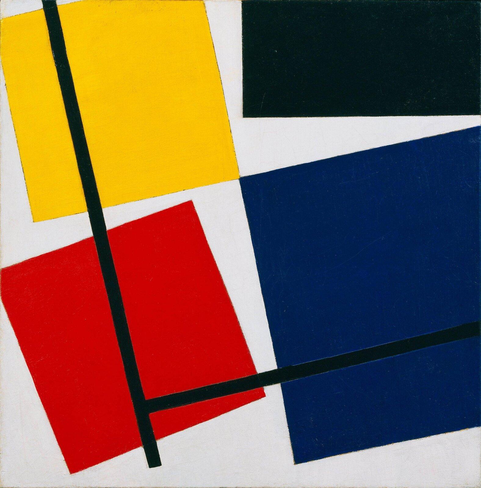 """Ilustracja przedstawia obraz Theo van Doesburga pt. """"Simultaneous Counter Composition"""". Ukazuje on różne, kolorowe geometryczne kształty."""