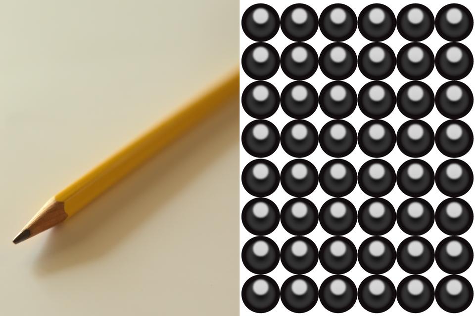 Na ilustracji widoczny jest ołówek zgrafitowym rysikiem, aobok - czarne atomy grafitu.