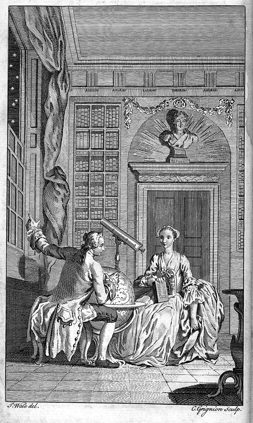Obraz przedstawia scenę rodzajową. Wpałacowej bibliotece znajduje się dwójka ludzi. Młody mężczyzna imłoda kobieta. Siedzą nieopodal siebie. Między nimi stoi duży globus iluneta.Rozmawiają. Wkomnacie widać duży księgozbiór.}