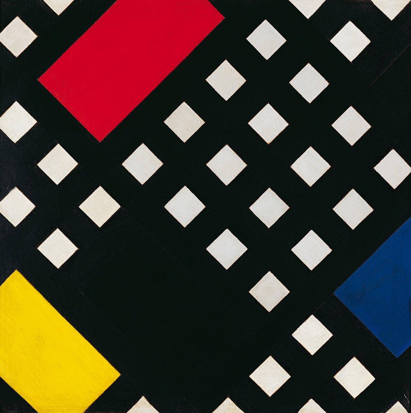 """Ilustracja przedstawia obraz Theo van Doesburga pt. """"Counter Composition XV"""". Ukazuje on różne, kolorowe geometryczne kształty."""