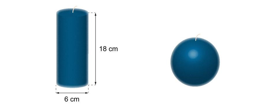 Rysunek dwóch świec. Jedna świeca wkształcie walca owysokości 18 cm iśrednicy podstawy równej 6 cm. Druga świeca ma kształt kuli.