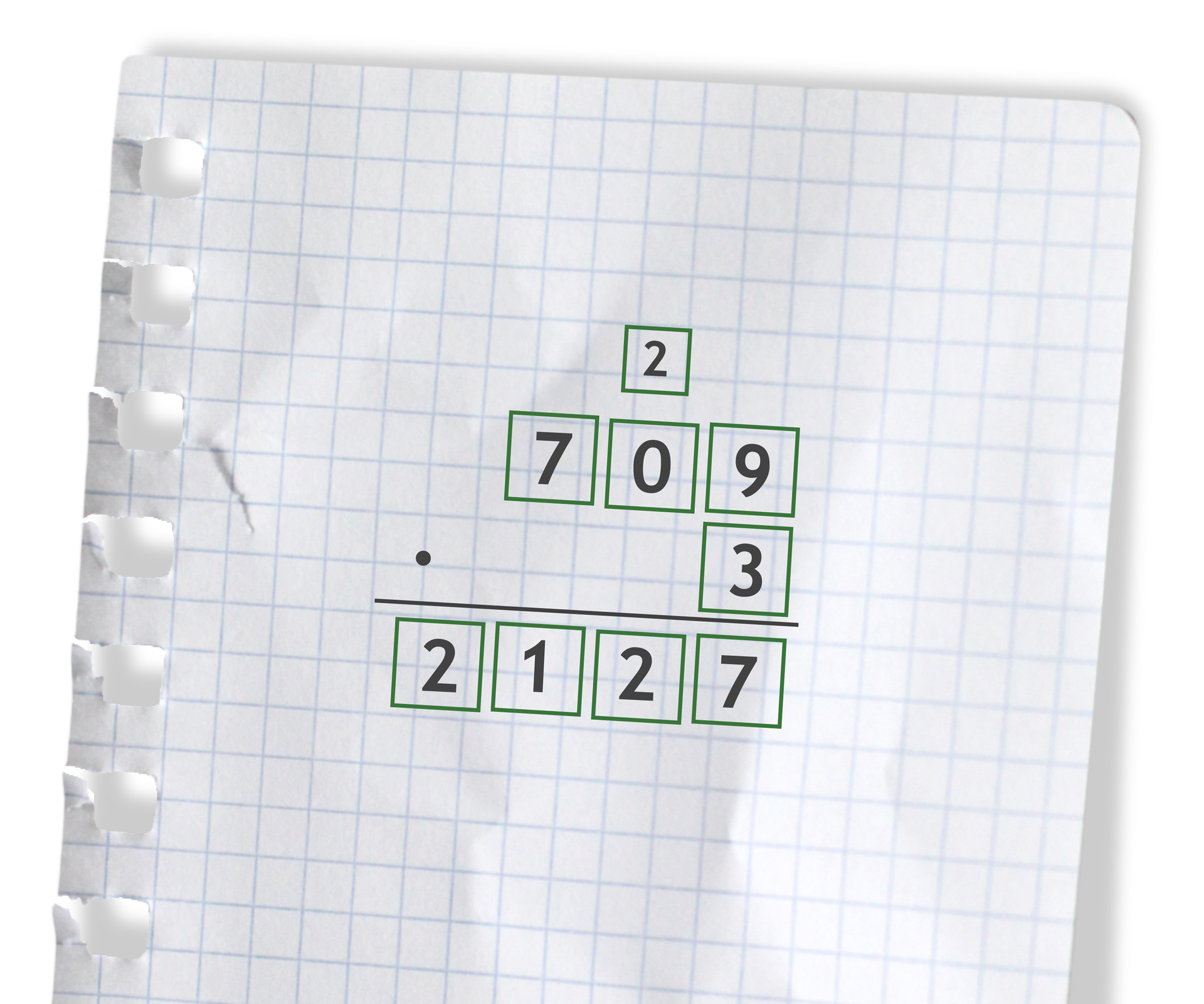 Przykład: 709 razy 3 =2127. Rozwiązanie zadania podpunkt d.