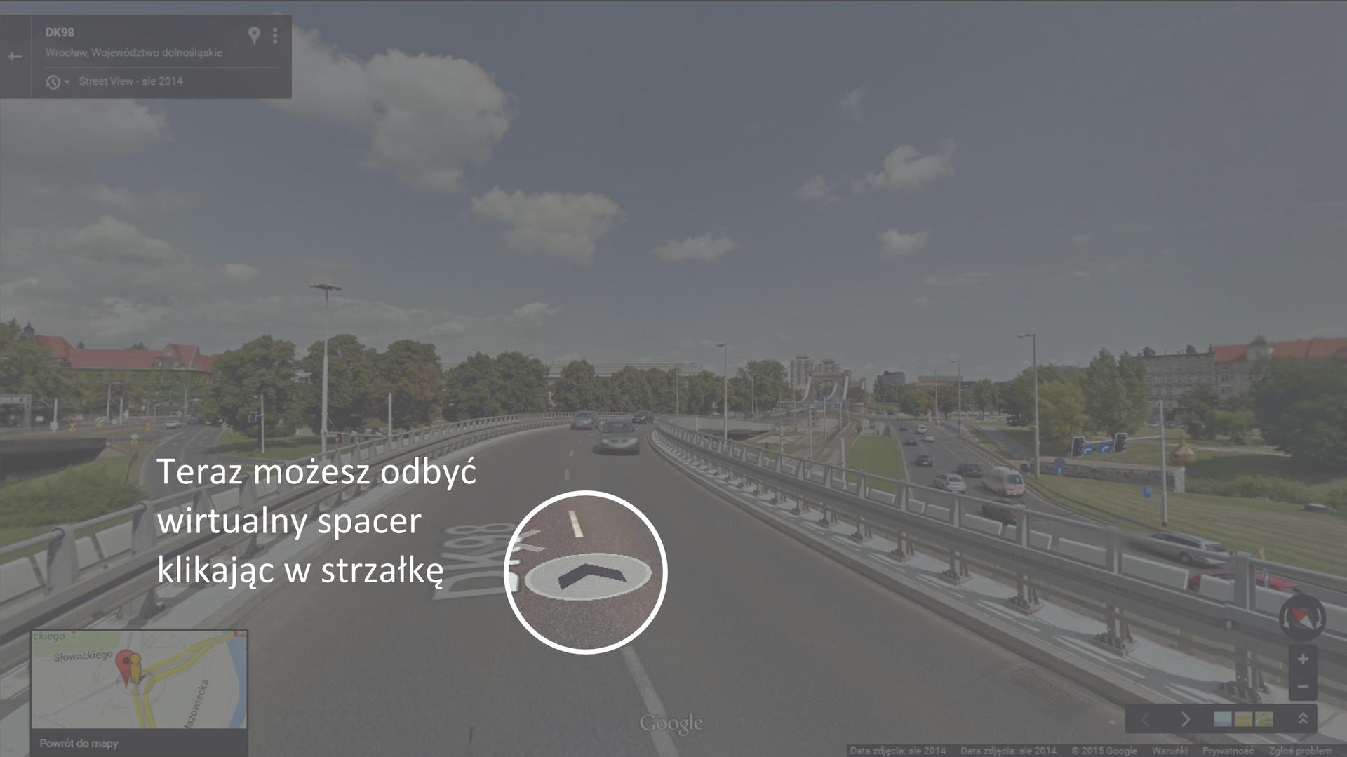Druga ilustracja przedstawia sposób korzystania zaplikacji internetowej Google Street View.