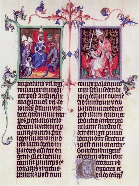 Dwie strony zdokumentu króla Czech Wacława z1400 r. będącegokopią Złotej bulliKarola IV z1356 r.Polewej stronie siedmiu elektorów,wcentrum postać cesarza, który jako król Czech był jednocześnie jednym zelektorów;po prawej arcybiskup koloński jako elektor. Dwie strony zdokumentu króla Czech Wacława z1400 r. będącegokopią Złotej bulliKarola IV z1356 r.Polewej stronie siedmiu elektorów,wcentrum postać cesarza, który jako król Czech był jednocześnie jednym zelektorów;po prawej arcybiskup koloński jako elektor. Źródło: domena publiczna.