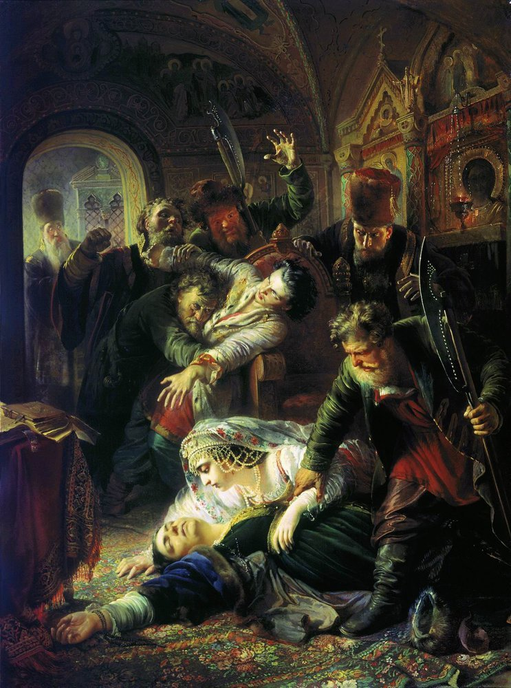 Zamordowanie Fiodora, syna Borysa Godunowa, przez siepaczy nasłanych przez Dymitra Samozwańca w1605 r. ZamordowanieFiodora, syna Borysa Godunowa, przez siepaczy nasłanych przez Dymitra Samozwańca w1605 r. Obraz Konstantego Makowskiego (1839-1915) rosyjskiego malarza, namalowany w1862 r. Obecnie obraz znajduje się wGalerii Trietiakowskiej wMoskwie. Źródło: Konstantin Makovsky, Zamordowanie Fiodora, syna Borysa Godunowa, przez siepaczy nasłanych przez Dymitra Samozwańca w1605 r., 1862, Tretyakov Gallery, Moscow, domena publiczna.