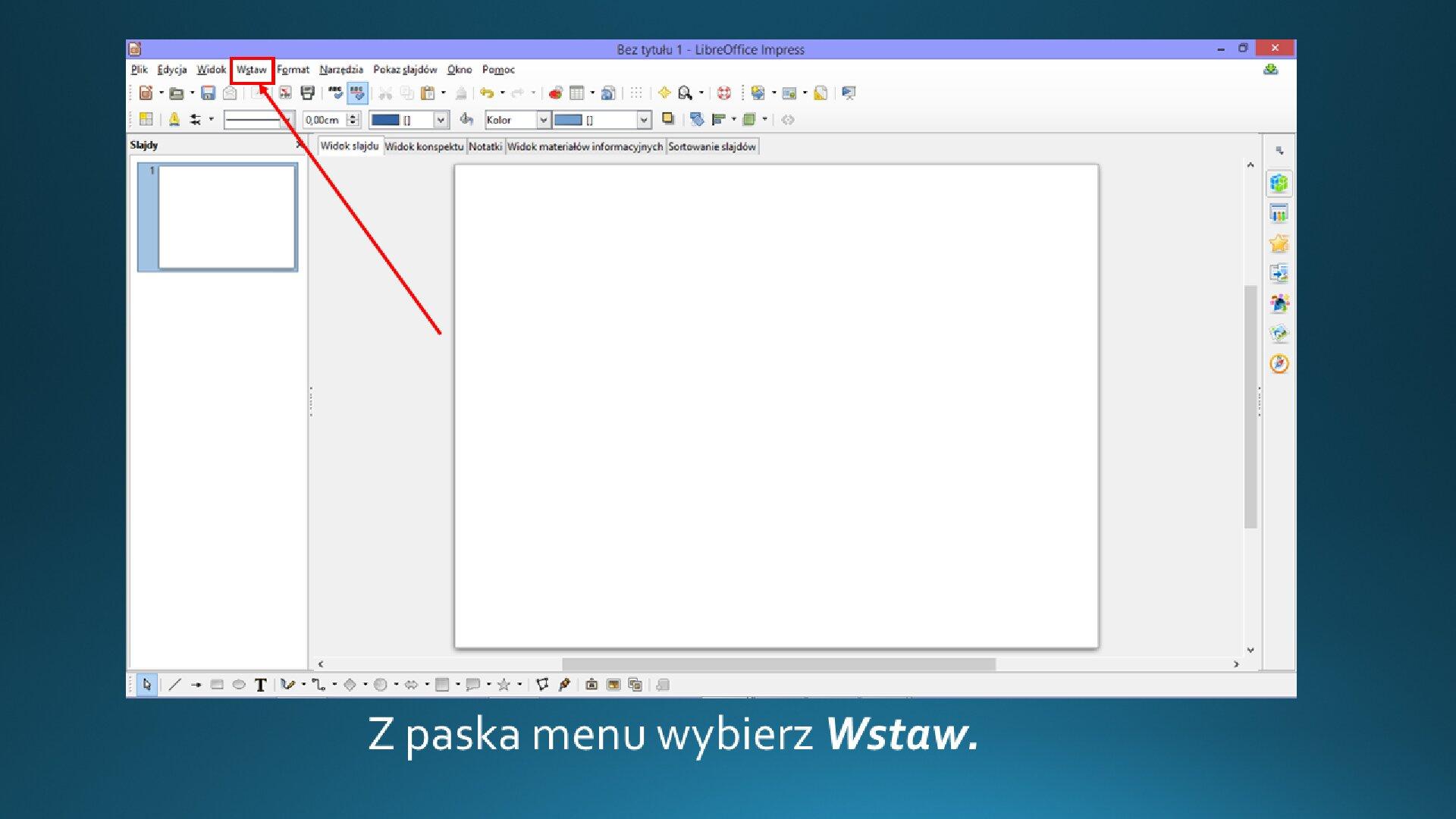 Slajd 1 galerii zrzutów slajdów: Wstawianiegrafiki na slajd opustym układzie wprogramie LibreOffice Impress