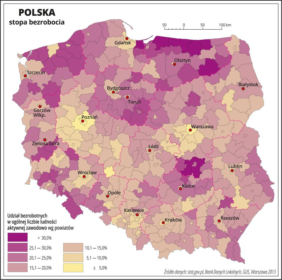 Ilustracja przedstawia mapę Polski zpodziałem na województwa ipowiaty. Na mapie przedstawiono stopę bezrobocia. Granice województw zaznaczone są czerwoną linią. Granice powiatów zaznaczone są czarną linią. Odcieniami koloru różowego iżółtego przedstawiono udział bezrobotnych wogólnej liczbie ludności aktywnej zawodowo. Najciemniejszy kolor różowy oznacza największe bezrobocie – powyżej trzydziestu procent iwystępuje wwojewództwie warmińsko-mazurskim ikieleckim. Duże bezrobocie występuje również wwojewództwie zachodniopomorskim idolnośląskim. Bezrobocie poniżej dziesięciu procent występuje wwojewództwie wielkopolskim, mazowieckim iczęści województwa śląskiego. Czerwonymi kropkami zaznaczono miasta wojewódzkie. Po lewej stronie mapy na dole wlegendzie umieszczono kolorowe prostokąty iopisano udział bezrobotnych wogólnej liczbie ludności aktywnej zawodowo. Kolor ciemnoróżowy oznacza bezrobocie powyżej trzydziestu procent im jaśniejszy kolor różowy tym bezrobocie mniejsze – do piętnastu procent, kolory przechodzące wżółte oznaczają bezrobocie poniżej piętnastu procent, akolor żółty – najniższe bezrobocie – poniżej pięciu procent.