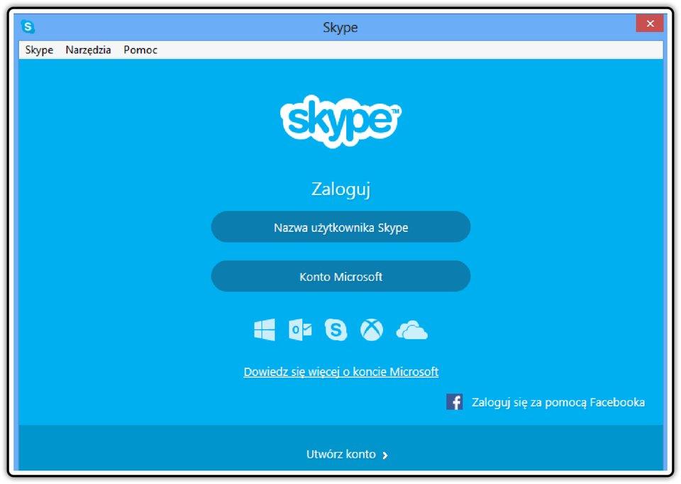 Zrzut okna logowania komunikatora Skype
