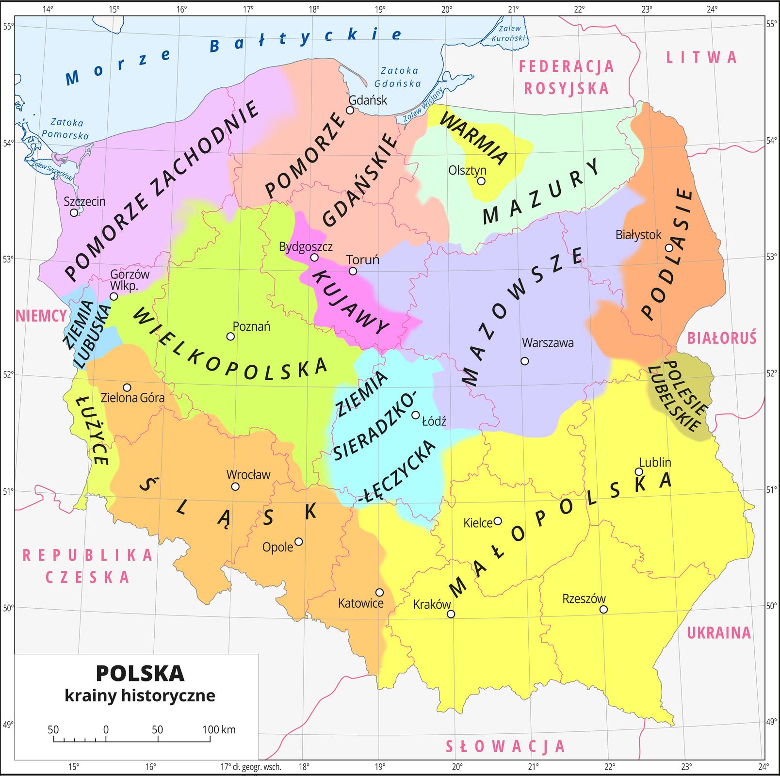 Mapa Polski prezentująca podział na krainy, które istniały wprzeszłości.