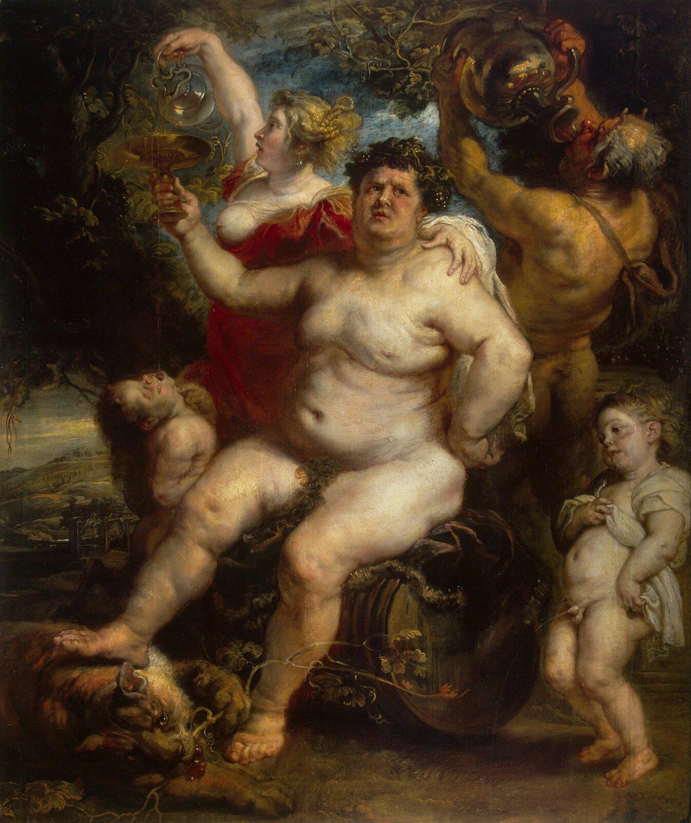 Bachus Źródło: Peter Paul Rubens, Bachus, ok. 1638–1640, olej na płótnie, Hermitage Museum, Sankt Petersburg, domena publiczna.