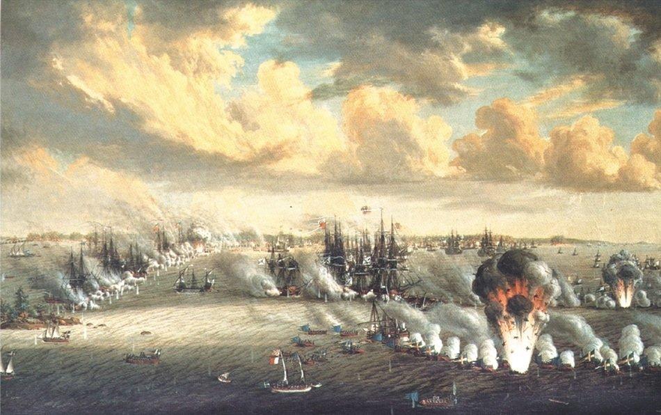 Rosyjsko-szwedzka bitwa morska na wodach fińskich Źródło: Johan Tietrich Schoultz, Rosyjsko-szwedzka bitwa morska na wodach fińskich, 1792, Olej na płótnie, domena publiczna.