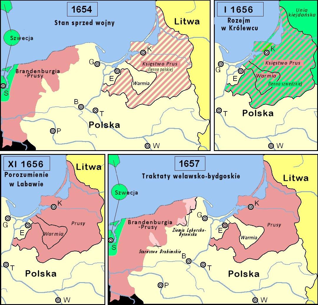 """Mapy ukazujące fazy uwalniania się Prus Książęcych spod zależności lennej od Polski wczasie trwania """"potopu szwedzkiego"""" Mapyukazujące fazy uwalniania się Prus Książęcych spod zależności lennej od Polski wczasie trwania potopu szwedzkiego.1654 - stan sprzed """"potopu""""; 17 stycznia 1656 – traktat elektora Fryderyka Wilhelma ze Szwecją wKrólewcu – powiązanie Księstwa Pruskiego, powiększonego obiskupstwo warmińskie, zależnością lenną ze Szwecją;20 listopada 1656 – po zwycięstwie wbitwie warszawskiej iwuznaniu zasług elektora Szwecja uwolniła Fryderyka Wilhelma zzależności lennej od Szwecji wPrusach Książęcych iksięstwie warmińskim;18 września 1657 – traktat welawski – Polska zrzekała się zależności lennej zksięstwa Pruskiego iprzelała je na Fryderyka Wilhelma (z wyłączeniem biskupstwa warmińskiego);6 listopada 1657 – wtraktatach bydgoskich potwierdzono ustalenia zWelawy izawarto wieczysty sojusz zKsięstwem Pruskim;3 maja 1660 – traktat pokojowy wOliwie – potwierdzał traktaty welawsko-bydgoskie.S- Szwecja; W- Warszawa; B- Bydgoszcz;G- Gdańsk;E- Elbląg; K- Królewiec;P- Poznań; T- Toruń. Źródło: Skäpperöd, Mapy ukazujące fazy uwalniania się Prus Książęcych spod zależności lennej od Polski wczasie trwania """"potopu szwedzkiego"""", licencja: CC BY-SA 3.0."""