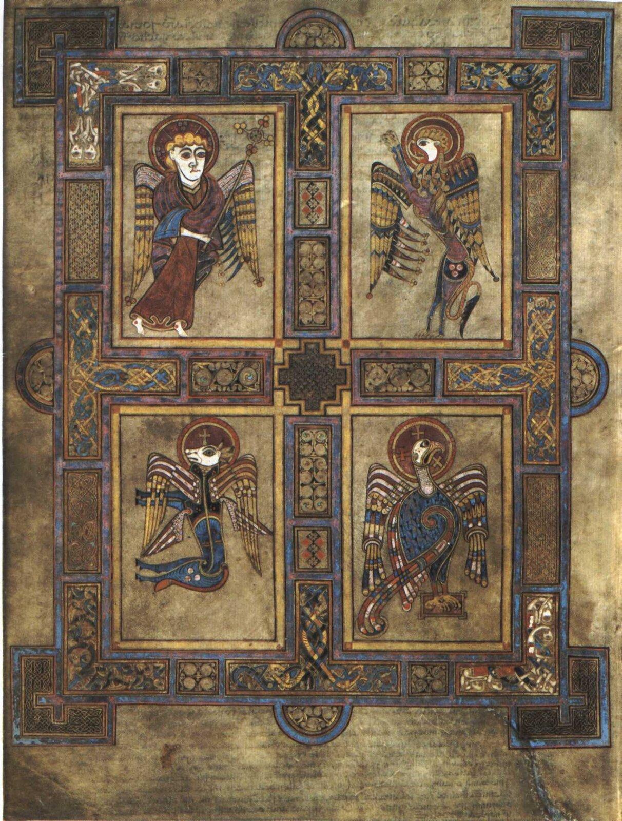 Ilustracja przedstawia stronę zKsięgi zKells. Na fotografii widzimy symbole czterech ewangelistów.