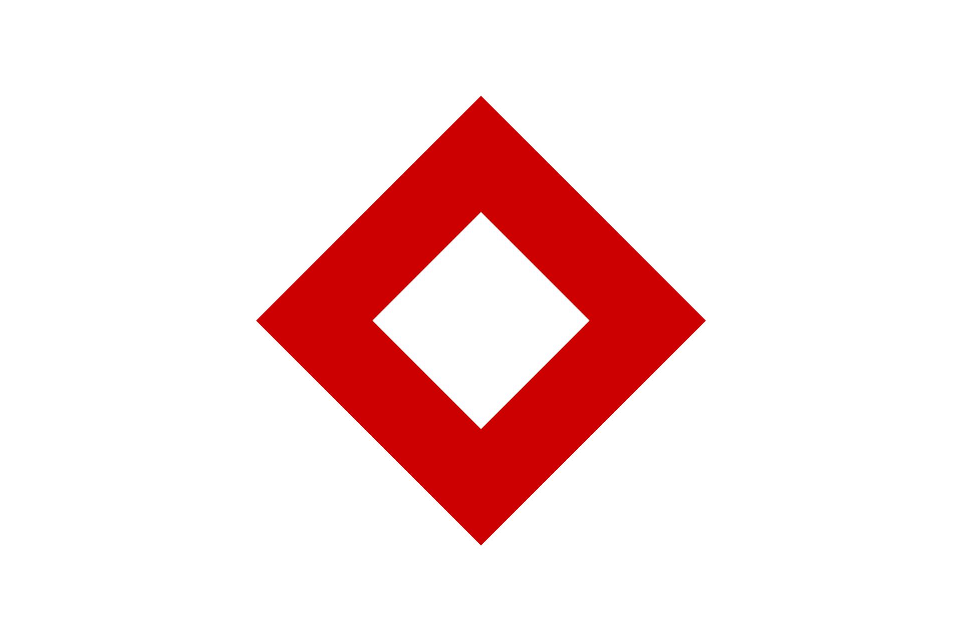 Galeria składa się z4 czerwonych symboli ułożonych wdwóch rzędach.Trzeci symbol: odwrócony kwadrat wsparty na jednym wierzchołku. Wzdłuż krawędzi kwadratu szeroka czerwona krawędź. Wnętrze kwadratu białe.