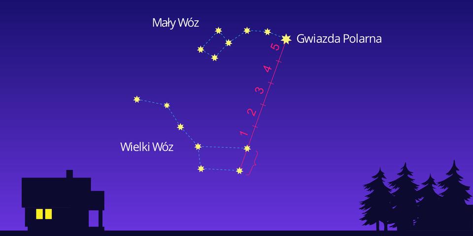 Krótki film animowany przedstawia położenie Gwiazdy Polarnej na niebie. Noc. Po lewej stronie czarny domek. Po prawej czarne drzewa iglaste. Na środku szafirowego nieba pojawiają się żółte gwiazdy. Biały napis po lewej: Wielki Wóz. Układ gwiazd zprawej strony przypomina drewniany wóz. Dyszel wychodzi zwozu po lewej stronie. Wóz wkształcie trapezu położony jest równolegle do powierzchni Ziemi. Górny poziomy bok jest dłuższy od dolnego. Cztery gwiazdy rozmieszczono wrogach wozu wkształcie trapezu. Na lewo od górnego rogu trapezu ułożone są wjednej linii trzy gwiazdy dyszla. Dyszel Wielkiego Wozu skierowany jest wlewo. Po prawej stronie wozu pojawia się prosta czerwona linia, która najpierw łączy dwie gwiazdy będące wierzchołkami trapezu Wielkiego Wozu, apotem dalej się wydłuża wgórę nieba. Czerwona linia od końcowej gwiazdy wydłuża się o5 odcinków równych odległości pomiędzy gwiazdami, które wcześniej połączyła. Na końcu tej wydłużonej linii pojawia się duża żółta gwiazda, czyli Gwiazda Polarna. Na lewo od czerwonej linii zakończonej ugóry Gwiazdą Polarną, powyżej Wielkiego Wozu, na środku nieba pojawia się napis Mały Wóz. Następnie na lewo od Gwiazdy Polarnej pojawia się sześć gwiazd, które tworzą Mały Wóz, który kształtem również przypomina trapez. Koniec dyszla Małego Wozu to Gwiazda Polarna. Dyszel skierowany jest na prawo, ana jego lewym końcu znajduje się trapezowaty wóz.