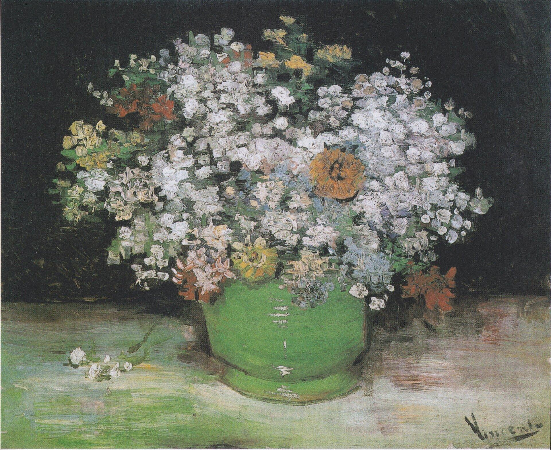 Wazon zcyniami iinnymi kwiatami Źródło: Vincent van Gogh, Wazon zcyniami iinnymi kwiatami, 1886, olej na płótnie, domena publiczna.