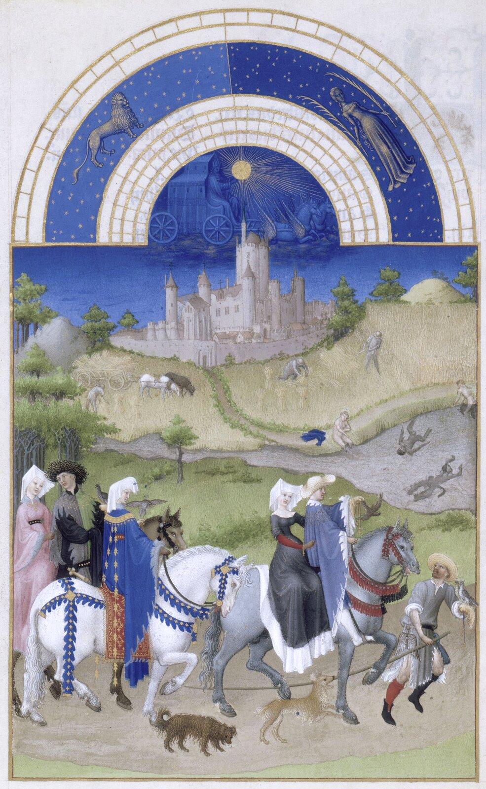 Bardzo bogate godzinki księcia de Berry, kwiecień, XV wiek Źródło: R.M.N. / R.-G. Ojéda, Bardzo bogate godzinki księcia de Berry, kwiecień, XV wiek, Musée Condé, licencja: CC 0.