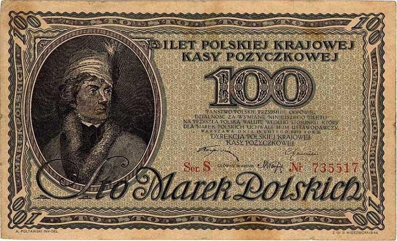 100 marek polskich z1919 r. Źródło: 100 marek polskich z1919 r., domena publiczna.