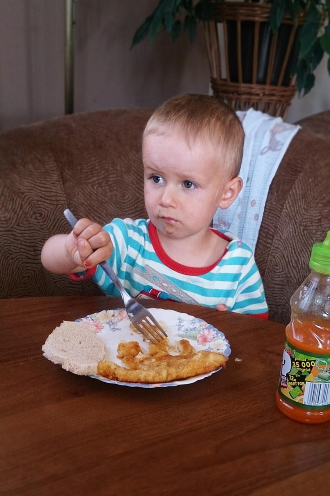 Fotografia przedstawia dziecko siedzące przy stole. Na widelec samodzielnie nabiera jedzenie ztalerza. Rozwija koordynację ruchów.