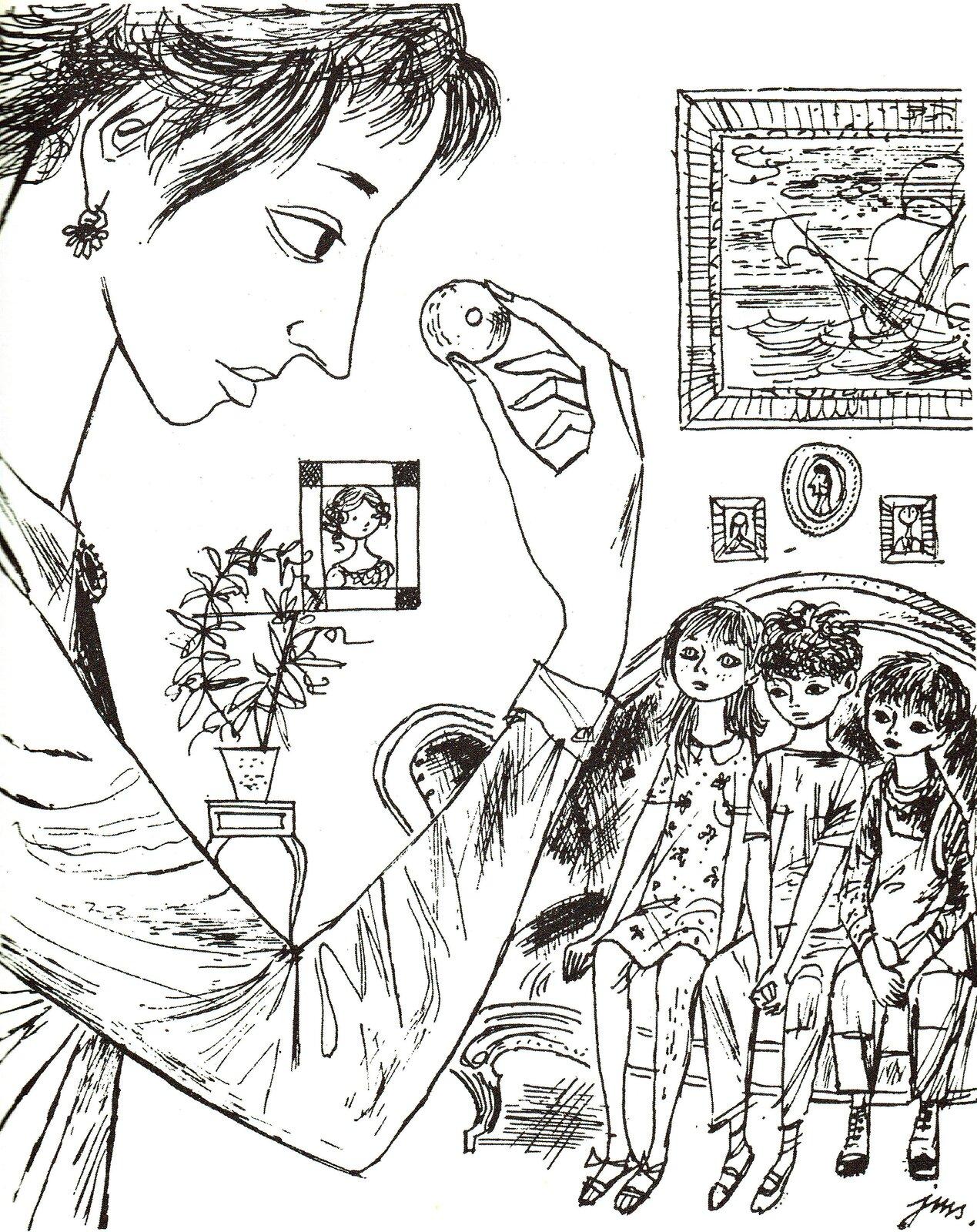 """Ilustracja przedstawia pracę Jana Marcina Szancera zksiążki Mary Norton """"Gałka od łóżka"""". Ukazuje wnętrze. Przy ścianie, na której wiszą obrazki iduży obraz, na łóżku siedzi troje dzieci. Mają smutne miny. Obok stoi stolik zdoniczką. Na pierwszym planie ukazana jest zprofilu kobieta trzymająca wprawym ręku, na wysokości oczu gałkę od łóżka."""