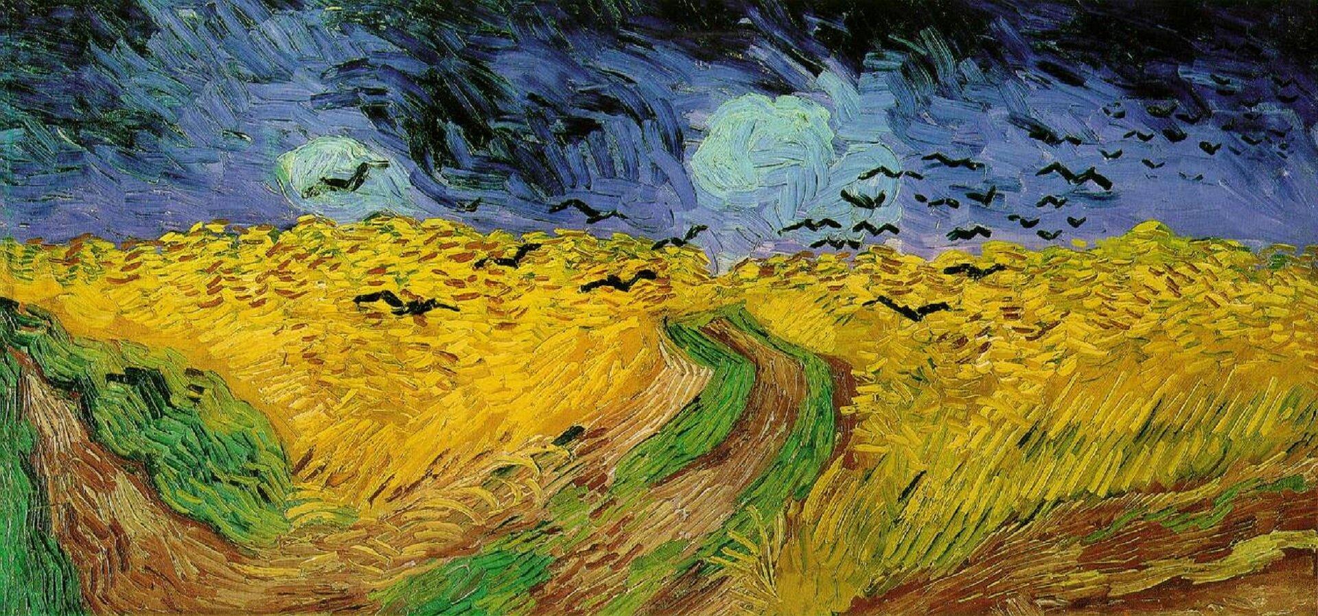 """Ilustracja przedstawia dzieło Vincenta van Gogha pt. """"Kruki nad łanem pszenicy"""". Obraz przedstawia panoramiczne ujęcie pól oraz rozstaje dróg zwidocznymi powyżej czarnymi ptakami. Tło stanowi zachmurzone, niemal czarne niebo."""
