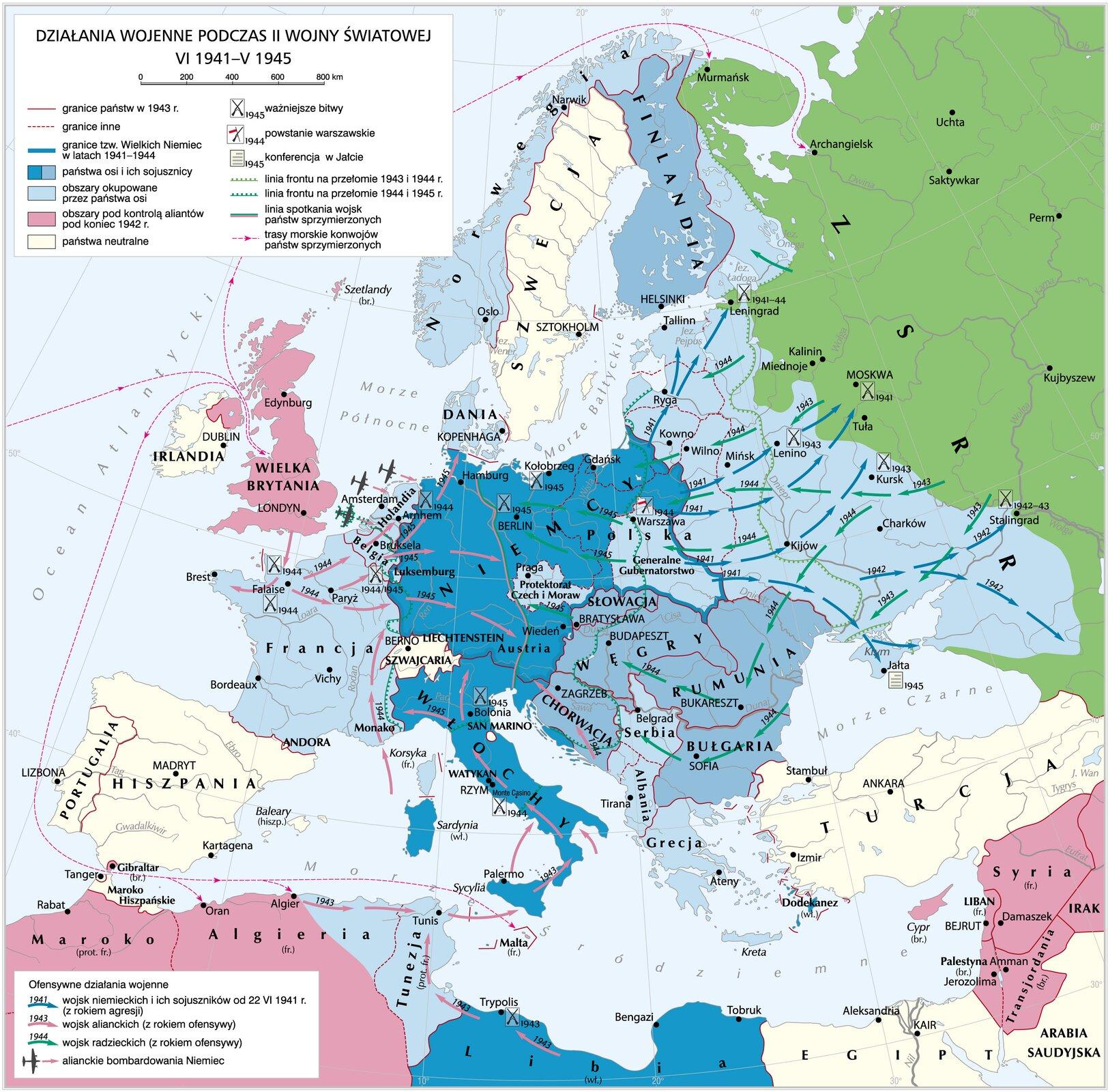 Mapa przebiegu II wojny światowej na świecie Źródło: Krystian Chariza izespół, licencja: CC BY 4.0.