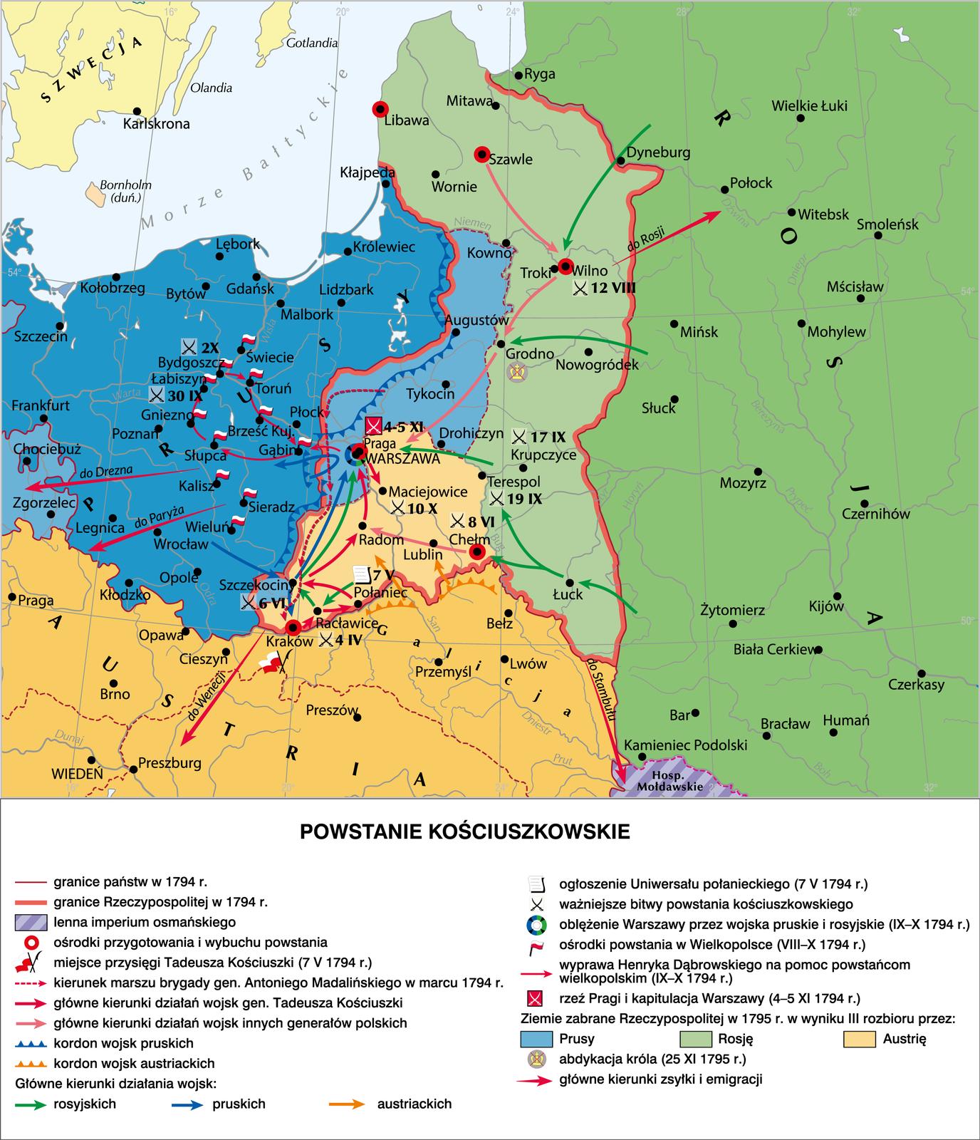 Mapa działań wojennych podczas insurekcji kościuszkowskiej w1794 r. Mapa działań wojennych podczas insurekcji kościuszkowskiej w1794 r. Źródło: Contentplus.pl sp. zo.o., licencja: CC BY-SA 4.0.