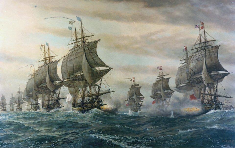Starcie floty francuskiej ibrytyjskiej podczas wojny oniepodległość Stanów Zjednoczonych Źródło: V. Zveg, Starcie floty francuskiej ibrytyjskiej podczas wojny oniepodległość Stanów Zjednoczonych, 1962, US Navy Naval History and Heritage Command, domena publiczna.