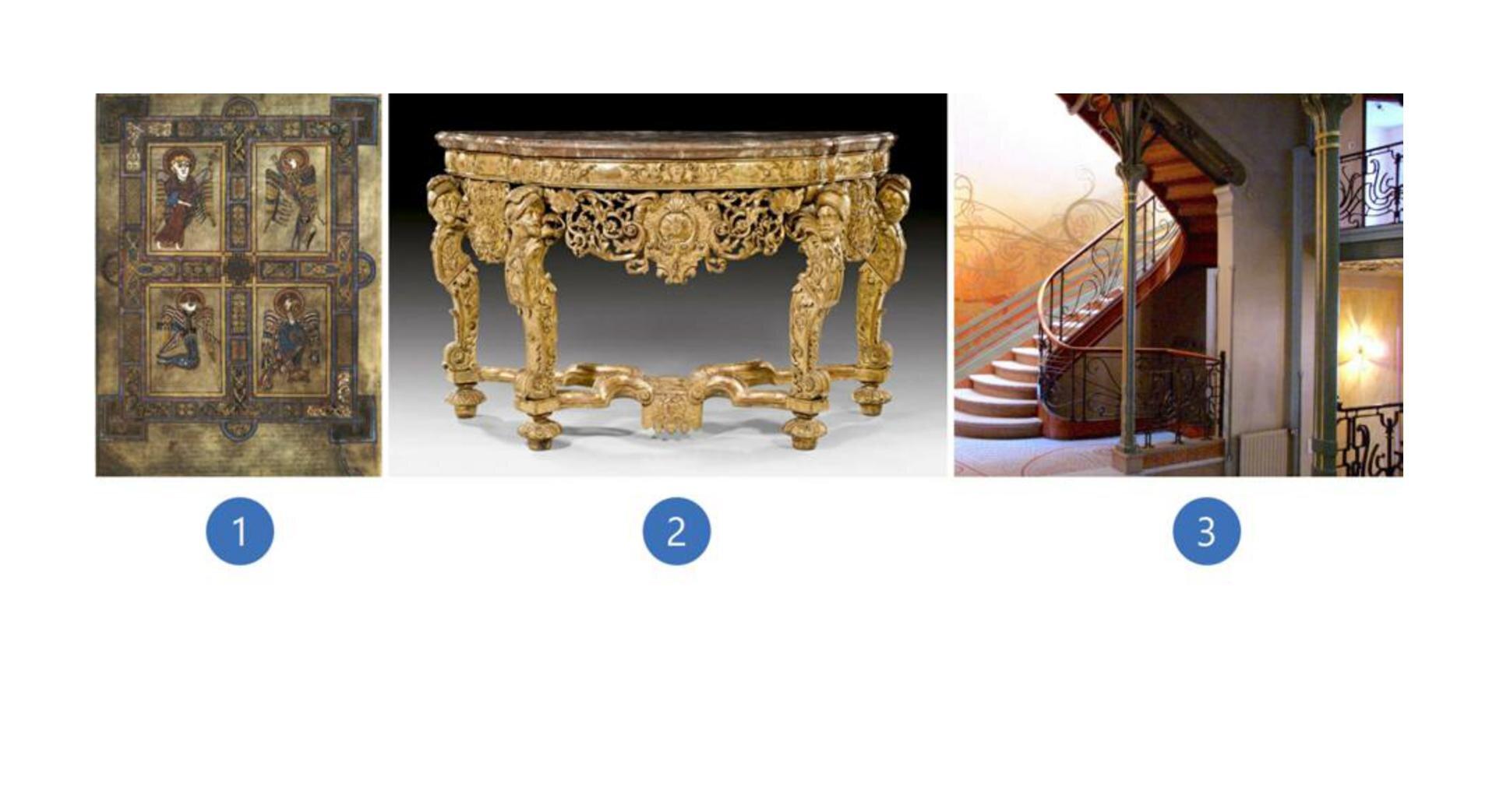 Wzadaniu wykorzystano trzy zdjęcia, które przedstawiają: stronę zKsięgi zKells - na fotografii są symbole czterech ewangelistów, stolik wstylu Ludwika XIV - mebel charakteryzuje się ornamentowymi wzorowaniami, są to głównie motywy roślinne ikwiatowe, klatkę schodową Hotelu Tassel wBrukseli.
