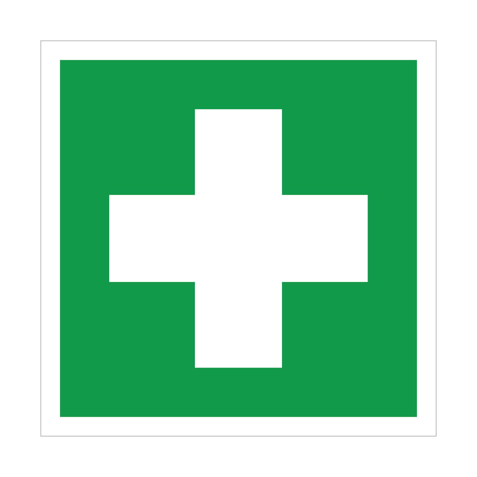 Ilustracja przedstawia zielony kwadrat zbiałą ramką wokół krawędzi. Wśrodkowej części biały krzyż.
