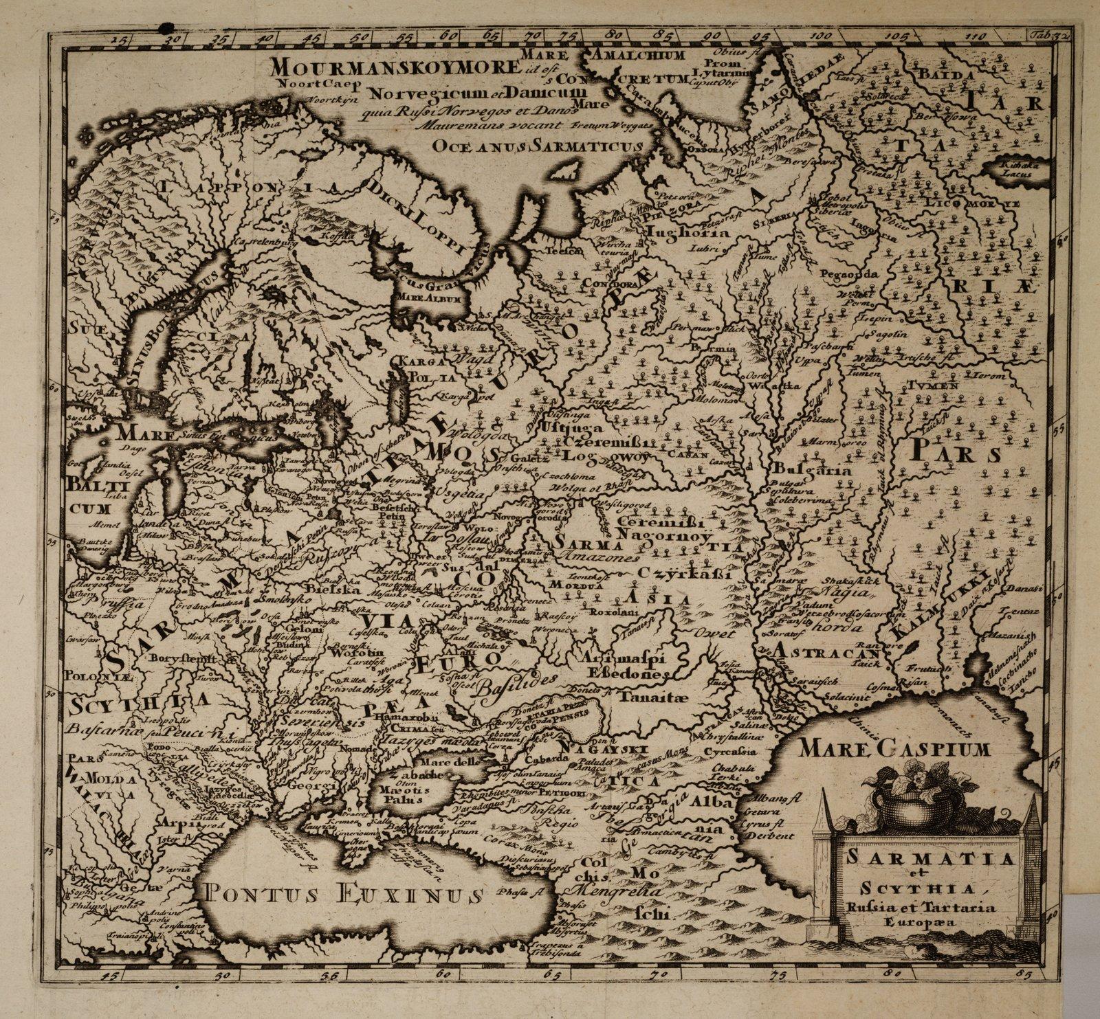 Sarmatia et Scythia, Russia et Tartarta Europaea Mapa zXVII w. Źródło: Sarmatia et Scythia, Russia et Tartarta Europaea, XVII w., domena publiczna.
