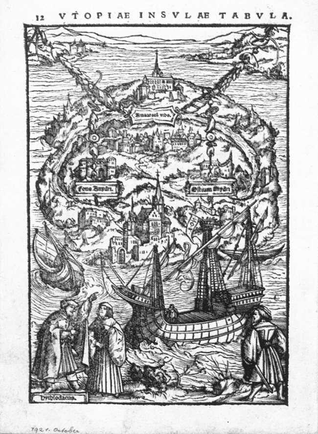 Wyspia Utopia Źródło: Ambrosius Holbein, Wyspia Utopia, 1518, drzeworyt, Kunstmuseum Basel, domena publiczna.