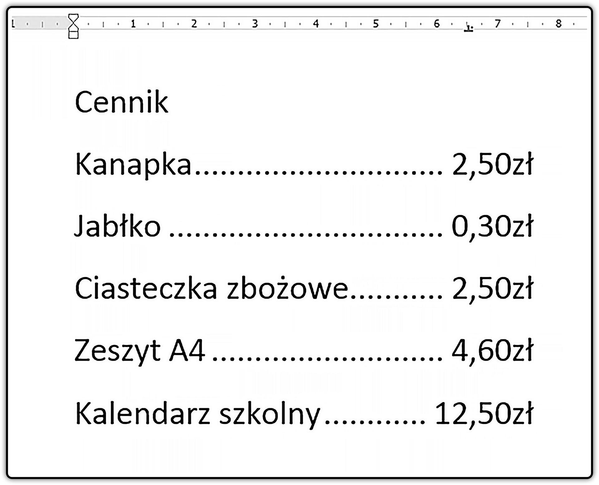 Zrzut dokumentu zfragmentem cennika zzastosowaniem znaków wiodących tabulatora