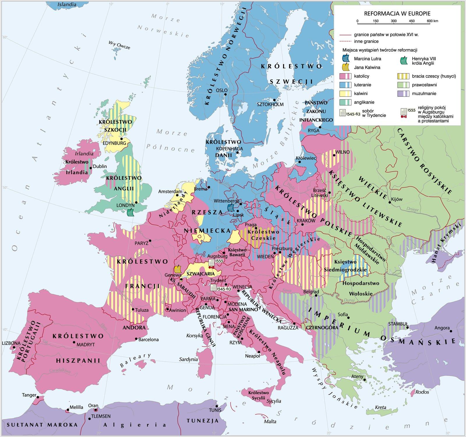 Rozprzestrzenienie się wyznań protestanckich wEuropie Źródło: Krystian Chariza izespół, Rozprzestrzenienie się wyznań protestanckich wEuropie, Krystian Chariza izespół.