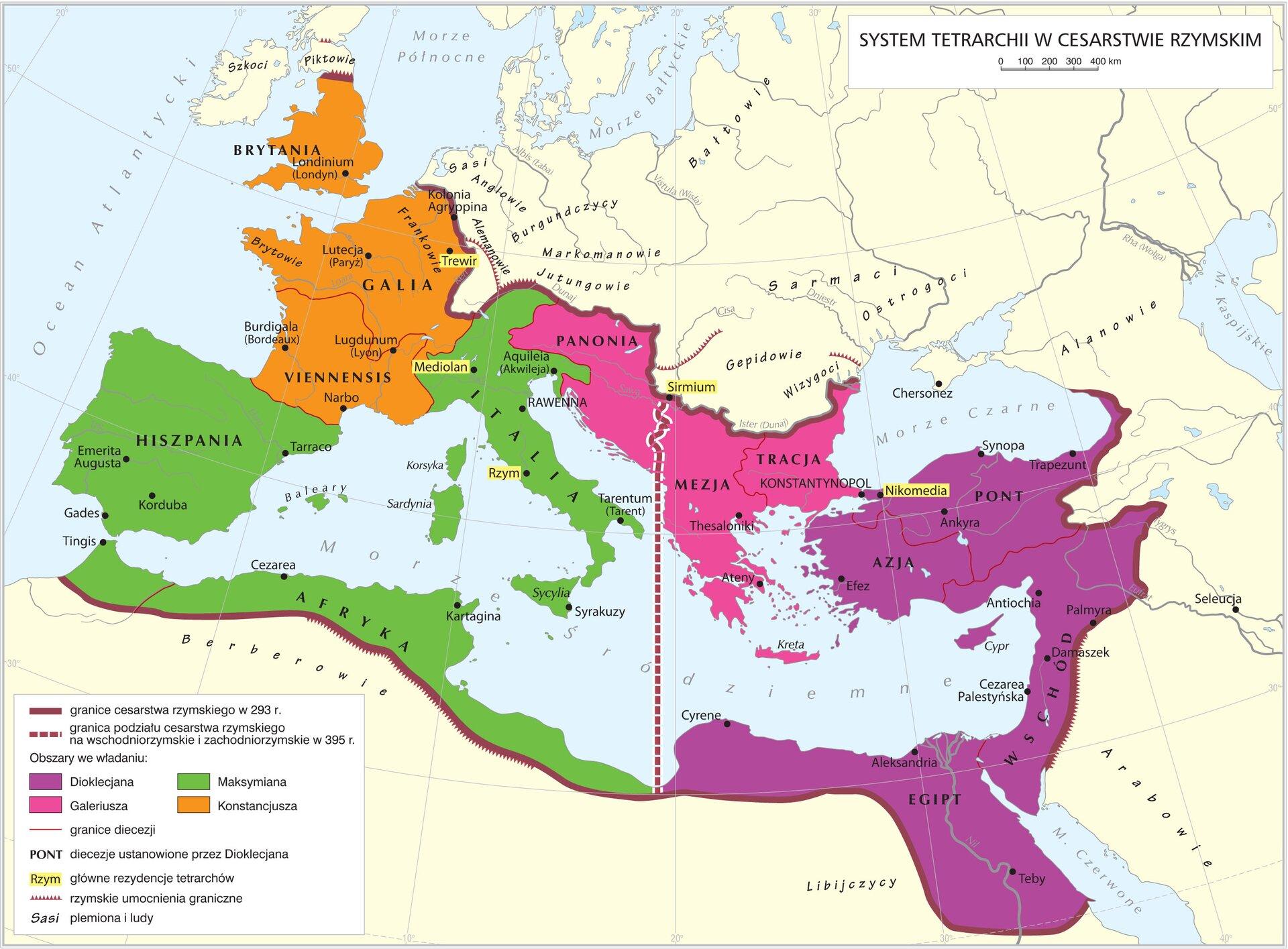 Dioklecjan, jako august, zatrzymał dla siebie Wschód. Drugi august, Maksymian, otrzymał Italię iAfrykę. CezarKonstancujszodpowiadał za Galię iBrytanię, adrugi cezar, Galileusz, za prowincje naddunajskie. Zasiadać mieli wczterech stolicach: Trewirze, Mediolanie, Sirmium iNikomedii. Intencją Dioklecjanabyło usytuowanie nowych stolic jak najbliżej zagrożonych granic. Dioklecjan, jako august, zatrzymał dla siebie Wschód. Drugi august, Maksymian, otrzymał Italię iAfrykę. CezarKonstancujszodpowiadał za Galię iBrytanię, adrugi cezar, Galileusz, za prowincje naddunajskie. Zasiadać mieli wczterech stolicach: Trewirze, Mediolanie, Sirmium iNikomedii. Intencją Dioklecjanabyło usytuowanie nowych stolic jak najbliżej zagrożonych granic. Źródło: Krystian Chariza izespół, licencja: CC BY 3.0.
