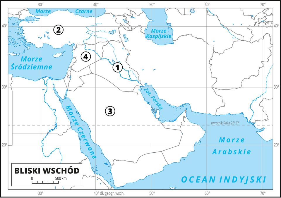 Ilustracja przedstawia mapę konturową obszarów Bliskiego Wschodu. Granice państw, brak opisów. Kilka państw ponumerowanych. Jeden – państwo wdolinie Tygrysa iEufratu. Dwa – duże państwo nad Morzem Śródziemnym iMorzem Czarnym. Trzy – największe państwo na Półwyspie Arabskim. Cztery – duże państwo na wschodnim brzegu Morza Śródziemnego. Morza ioceany zaznaczono kolorem niebieskim iopisano. Mapa pokryta jest równoleżnikami ipołudnikami. Dookoła mapy wbiałej ramce opisano współrzędne geograficzne co dziesięć stopni.