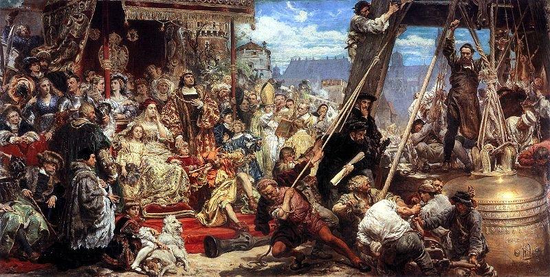 Zawieszenie dzwonu Zygmunta Źródło: Jan Matejko, Zawieszenie dzwonu Zygmunta, 1874, olej na płótnie, domena publiczna.
