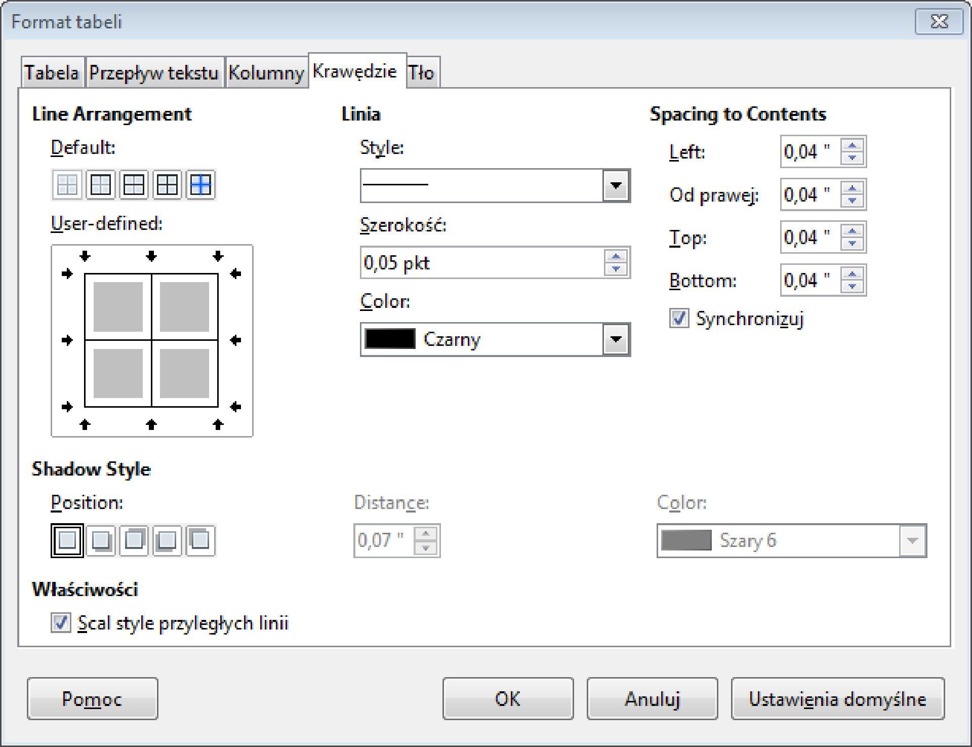 Zrzut okna: Format tabeli zwybraną zakładką: Krawędzie wprogramie LibreOffice Writer