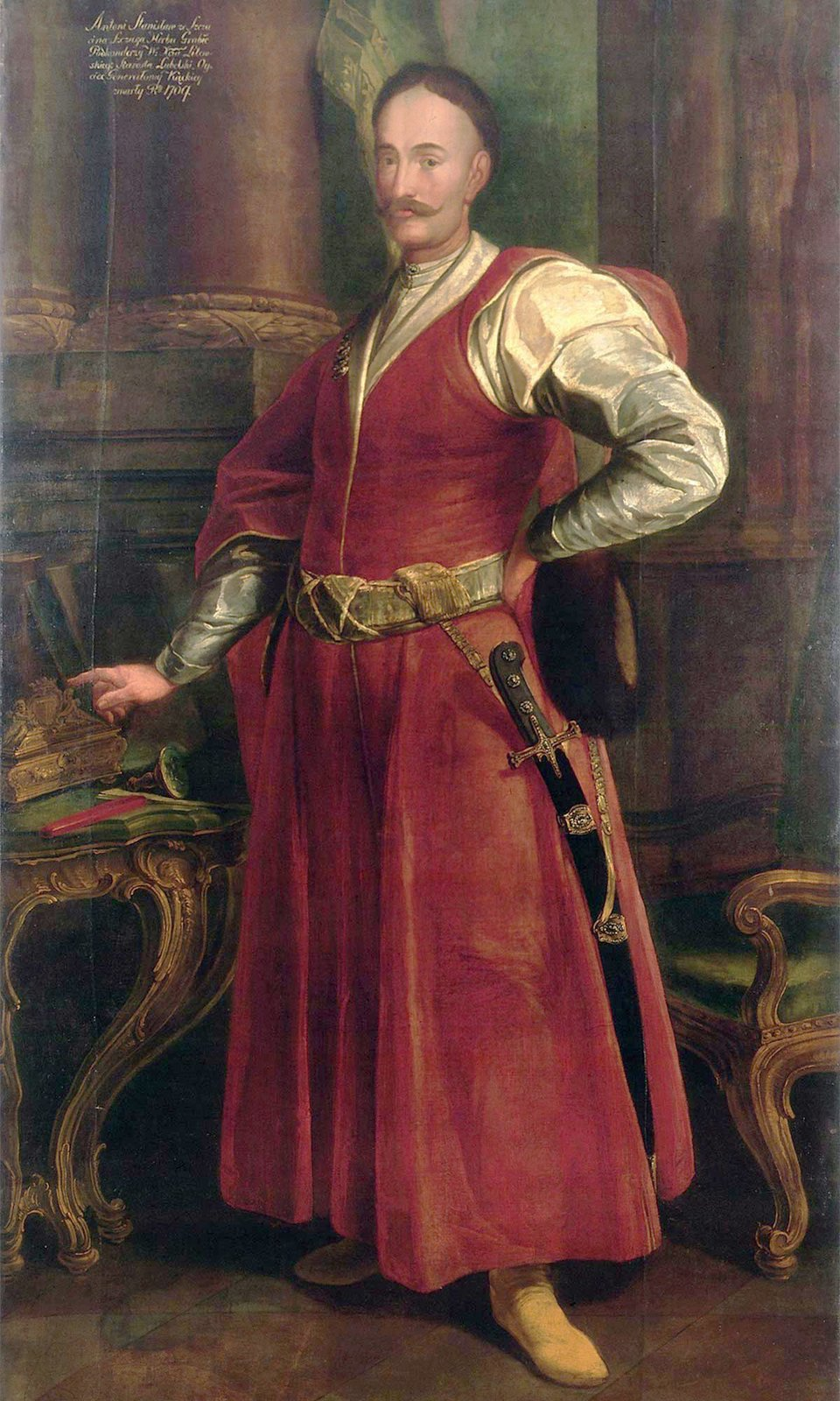 PortretStanisława Antoniego Szczuki PortretStanisława Antoniego Szczuki Źródło: 1735-1740, olej na płótnie, Muzeum Pałacu Króla Jana III wWilanowie, domena publiczna.