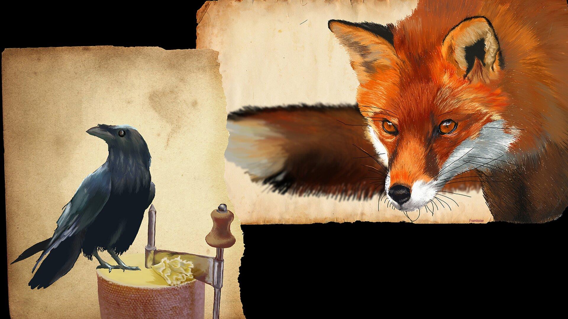 Ilustracja przedstawia zdjęcia kruka oraz lisa. Po lewej stronie grafiki znajduje się kruk, który ma głowę odchyloną wswoją prawą stronę, więc widać jego lewy profil. Prawa strona grafiki przedstawia lisa – jego głowę, fragment tułowia iogon. Jego spojrzenie sugeruje, że jest bardzo skupiony.