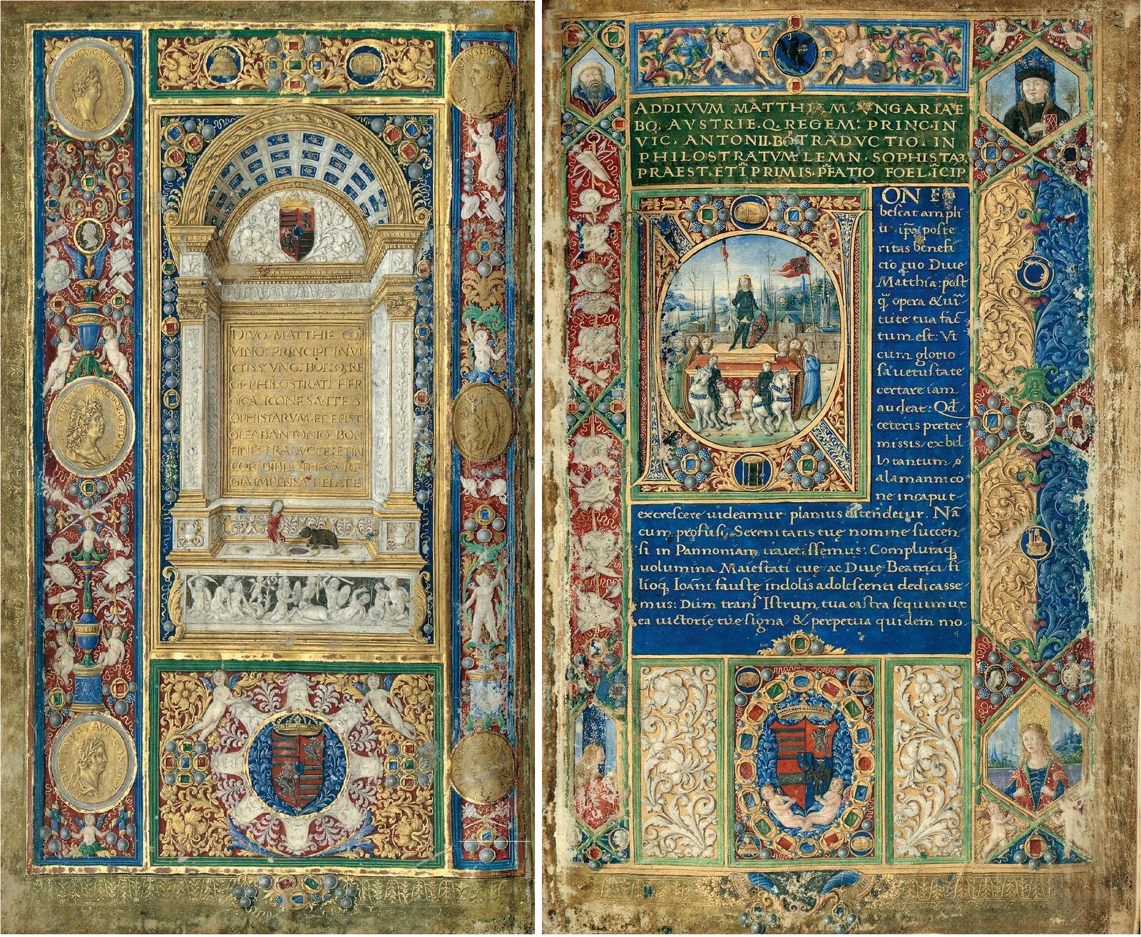 """Kodeks """"Philostratus"""" zdawnej biblioteki króla Macieja Korwina z1487 r. Źródło: Philostratos, Kodeks """"Philostratus"""" zdawnej biblioteki króla Macieja Korwina z1487 r., 1487, domena publiczna."""