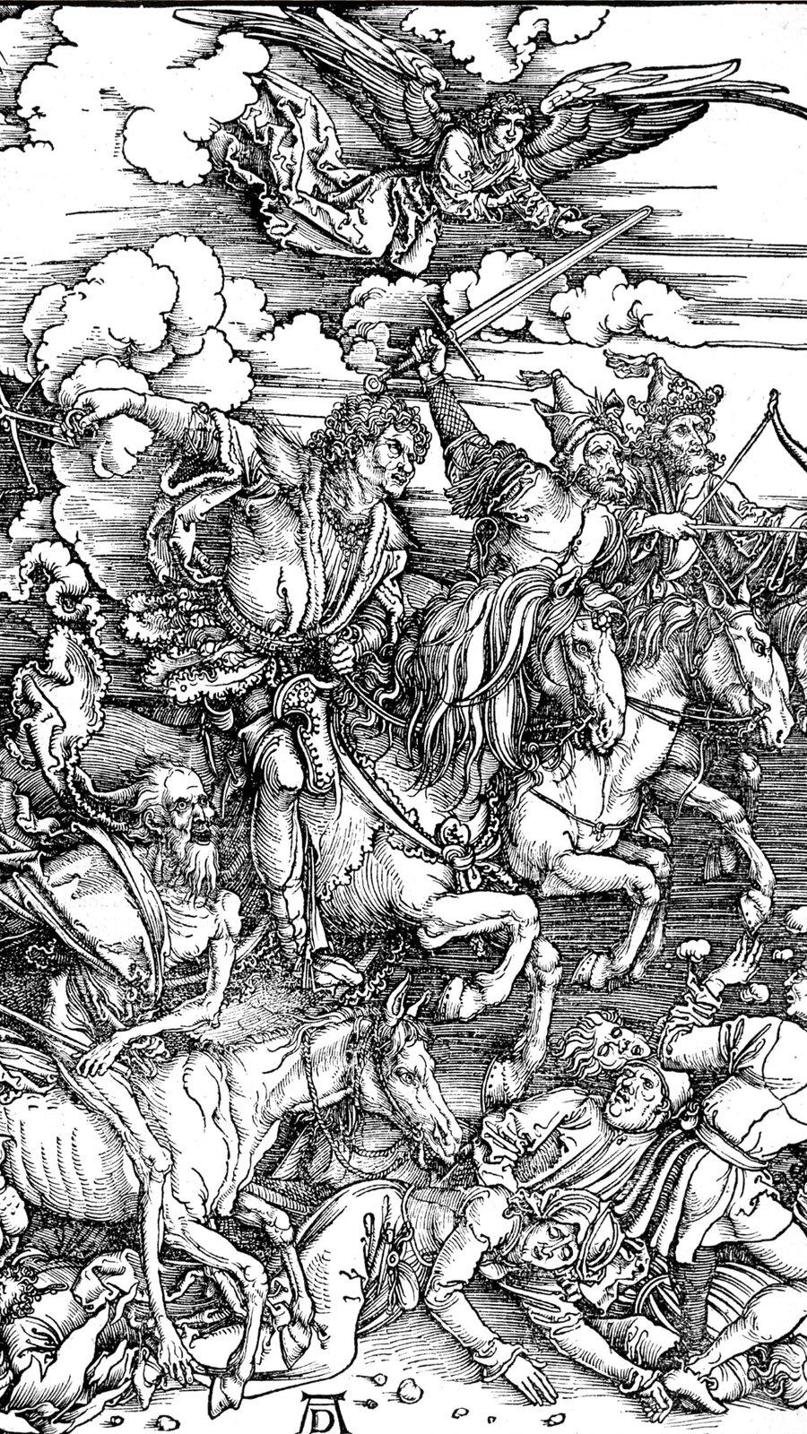 """Czarno-biała ilustracja pt. """"Jeźdźcy Apokalipsy"""" przestawia czterech jeźdźców jadących na koniach. Widać staranowanych przez zwierzęta ludzi. Nad całą sceną unosi się anioł."""
