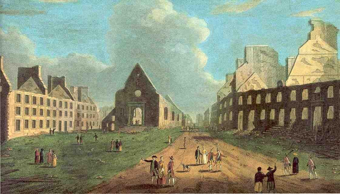 Miasto Quebec po zniszczeniach wwojnie siedmioletniej Miasto Quebec po zniszczeniach wwojnie siedmioletniej Źródło: 1761, domena publiczna.