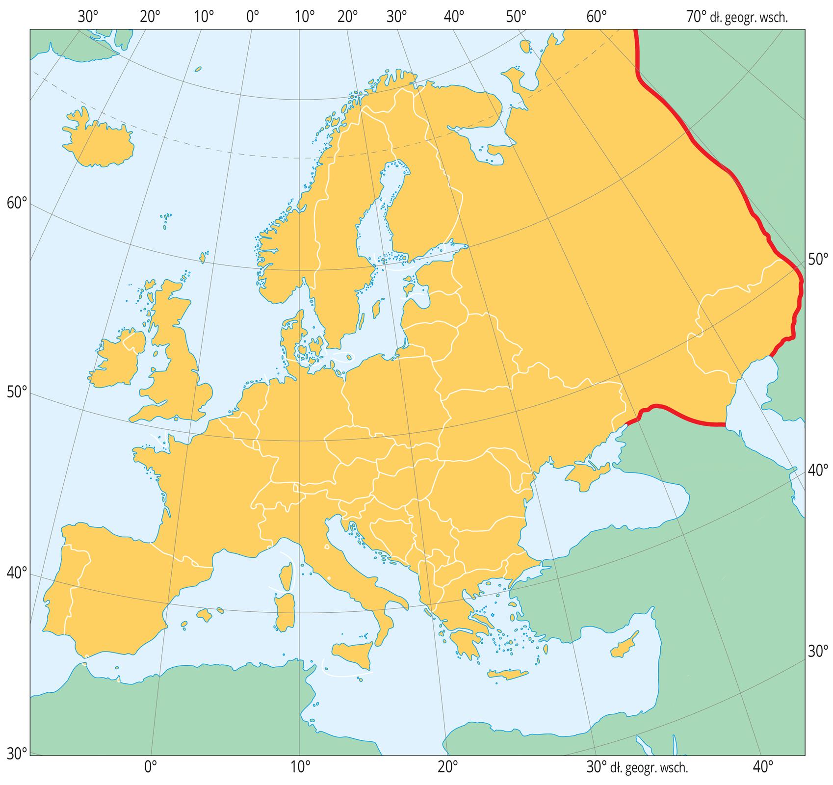 Mapa przedstawia Europę oznaczono na brązowo. Inne kontynenty są szare. Pomiędzy Europą, aAzją narysowano czerwona linię oddzielającą te dwa kontynenty.