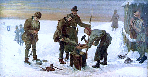 obraz przedstawie grupę ludzi wpejzażu zimowym, wcentrum jednemu człowiekowi zakładane są kajdany na nogi