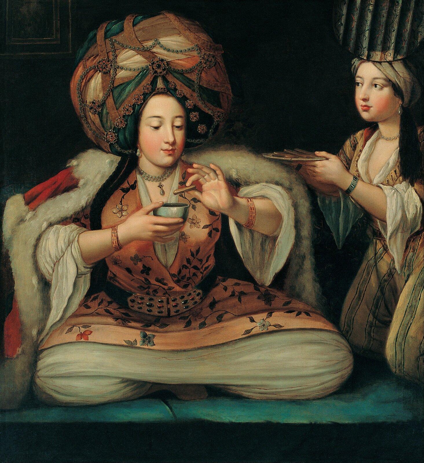 Ciesząc sie kawą Scena zBaśni ztysiąca ijednej nocy Źródło: Ciesząc sie kawą, pierwsza połowa XVIII wieku, olej na płótnie, domena publiczna.