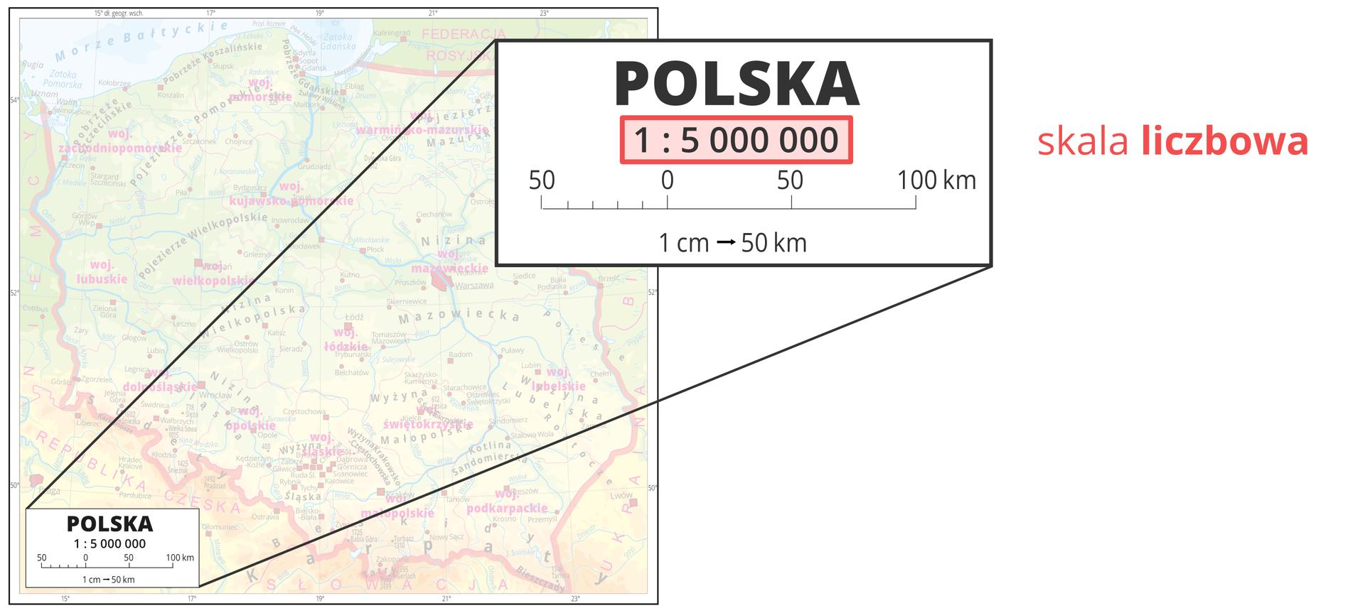 Galeria przedstawia trzy ilustracje zróżnymi typami skali umieszczanymi wlegendzie mapy. Pierwsza ilustracja pokazuje powiększenie legendy mapy ze skalą liczbową jeden do pięciu milionów, co oznacza, że coś zostało pomniejszone pięć milionów razy.